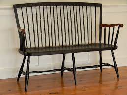 custom made windsor bench with cherry arms by t kelly furniture