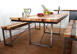 reclaimed wood dining table with iron base wrought and room sets