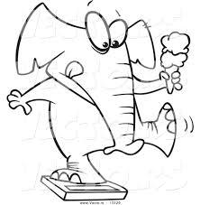 vector of a cartoon chubby elephant holding an ice cream cone and
