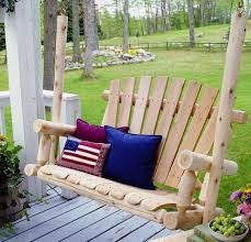 Outdoor Patio Swing by Wood Porch Swing Log Bench Outdoor Patio Deck Yard Hanging Glider