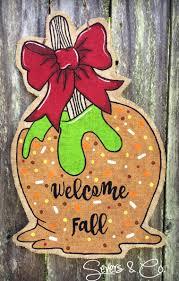 brand new for fall 2016 caramel apple burlap door hanger by