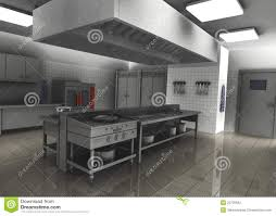 3d render of professional restaurant kitchen inter stock