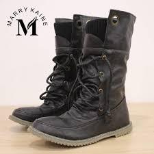 womens flat black boots size 12 big size 34 43 half knee high boots vintage flats heels lace