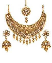 gold choker necklace set images Bindhani bollywood style traditional ethnic jewelry jpg