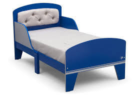 jack and jill toddler bed with upholstered headboard blue and