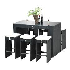 Patio Furniture Pub Table Sets - outsunny 7pc outdoor kitchen dining table wicker rattan pub