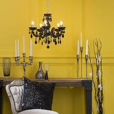 Yellow Black Room Marie Therese Chandelier 5 Light Dual Mount Black From Litecraft