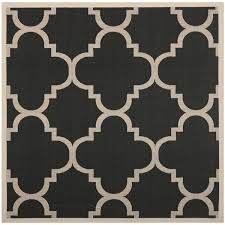 Outdoor Rug Square Safavieh Courtyard Quatrefoil Black Beige Indoor Outdoor Rug 4