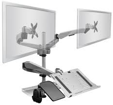 Laptop Desk Stands by Articulating Dual Monitor Mount And Vented Laptop Tray 13 27 U201d Screens