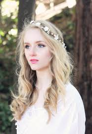 flower band bridal flower crown ivory flower wedding wreath
