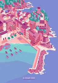 Cinque Terre Map Cinque Terre Poster Matteo Berton