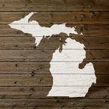 Michigan Map Outline by Map Of Michigan State Outline White Distressed Paint On Reclaimed