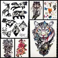 1pc men women temporary tattoo stickers gqs a061 evil roaring