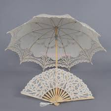 lace fans vintage battenburg lace sun parasol wedding bridal umbrella