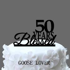 aliexpress com buy 50th birthday cake topper 50 years blessed