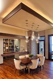 Ceiling Dining Room Lights by Modern Dining Room With False Ceiling Designs And Suspended Lamps