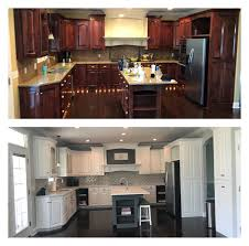 can wood cabinets be painted white kitchen remodel before after cherry cabinets painted