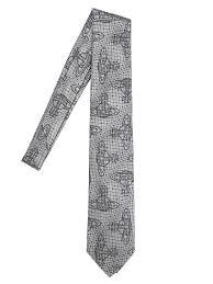 designer fashion sale vivienne westwood 8 5cm orbit jacquard silk crepe tie grey