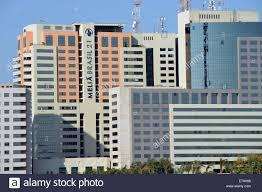 modern buildings and melia brasil 21 hotel brasilia brazil stock