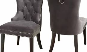 Grey Velvet Dining Chairs Meridian Furniture Nikki Modern Plush Grey Velvet Dining Chairs