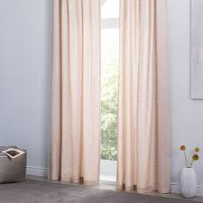 Dusty Curtains Cotton Canvas Chambray Print Curtain Set Of 2 Dusty Blush