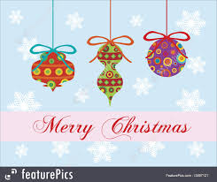 illustration of merry greeting card ornaments