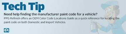 need help finding the manufacturer paint code for a vehicle