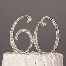 60th anniversary cake topper 60 cake topper for 60th birthday or anniversary gold
