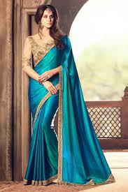 color designer party wear soothing sky blue color designer silk saree with