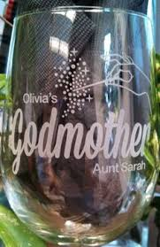 Godmother Wine Glass Crowned In Heaven Christening Baptism Baby Children U0027s Name