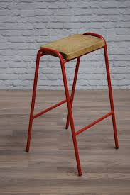 cafe bar stools vintage industrial style red frame pine top school lab cafe bar