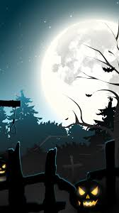 1080x1920 full moon halloween graveyard scary creepy pumpkins