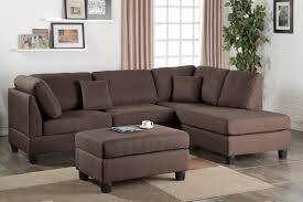 Reversible Sectional Sofa Poundex Bobkona F7608 Chocolate Reversible Chaise Sectional U0026 Ottoman