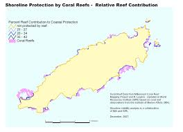 Tobago Map Shoreline Protection By Coral Reefs Relative Reef Contribution