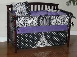 Black And White Crib Bedding Sets Custom Crib Baby Bedding 3 5pc Bedding Set Purple Minky