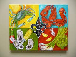 Fleur De Lis Home Decor Lafayette La Original Acrylic Painting Louisiana Seafood Fleur By Evesjulia12