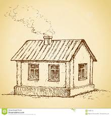 cute little house vector sketch illustration stock photo image