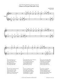 once in royal davids city easy piano sheet music by christmas
