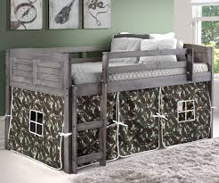 louver low loft bed with camo tent antique grey 790aag c donco