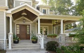 porch post ideas entry traditional with wood front door gray