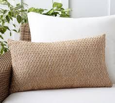 honeycomb faux fiber indoor outdoor lumbar pillow pottery barn