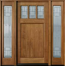 Wood Exterior Door Front Door Custom Single With 2 Sidelites Solid Wood With