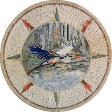 pelican bird in mosaic compass design medallion mediterranean