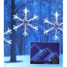 everstar set of 8 white blue led snowflakes with motion