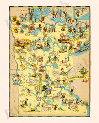 State Map Of Minnesota by Pictorial Map Of Minnesota Colorful Fun Illustration Of
