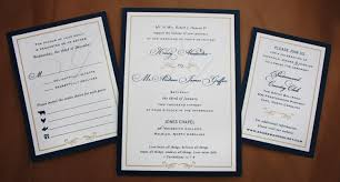 wedding invitations navy navy blue gold formal border scroll monogram belly band