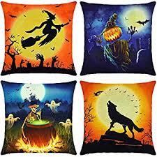 amazon com 4pcs happy halloween cotton linen pillow cover square