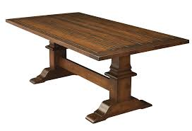 Amish Rustic Plank Trestle Dining Table Farmhouse Solid Wood  X - Trestle kitchen tables
