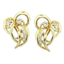 earrings gold design 14k yellow gold diamond ribbon bow design earrings boca raton