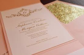 blush and gold wedding invitations pink gold glitter fabulous